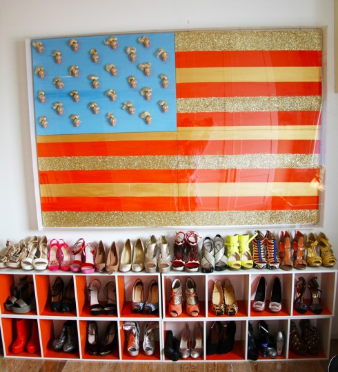 Guest Bedroom (i.e. Morgan's closet).  Complete with Barbie American Flag.  Why use stars when you can use Barbie Heads?