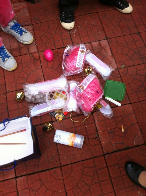 The carnage.  Apparently, pink Easter grass and Easter eggs are lost on the Chinesel.